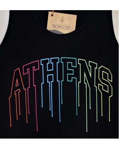 "A.H.B. BLACK TANK-TOP ""COLOURED ATHENS"""