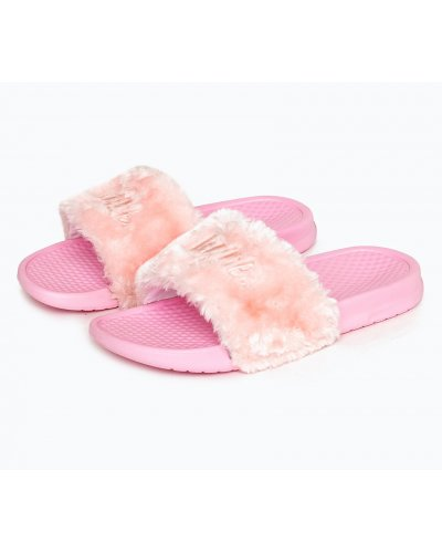 HYPE PINK FLUFFY SCRIPT SLIDERS