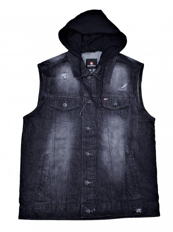 SOUTHPOLE CLOTHING Hoodied Denim Vest