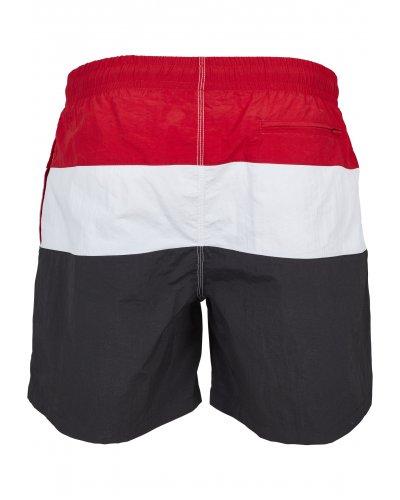 URBAN CLASSICS Color Block Swimshorts Black/fire red/white